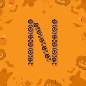 Halloween letra n de caveiras e ossos cruzados para design festivo fonte para feriado e festa em orang ...