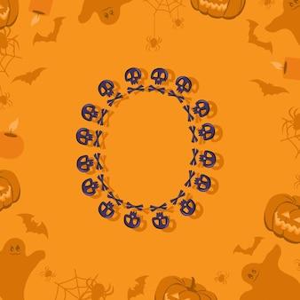 Halloween letra o de caveiras e ossos cruzados para projetar fonte festiva para feriado e festa em orang ...