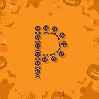 Halloween letra p de caveiras e ossos cruzados para projetar fonte festiva para feriado e festa em orang ...