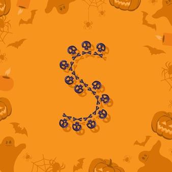 Halloween letra s de caveiras e ossos cruzados para projetar fonte festiva para feriado e festa em orang ...