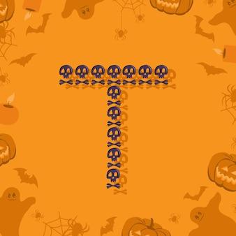 Halloween letra t de caveiras e ossos cruzados para projetar fonte festiva para feriado e festa em orang ...