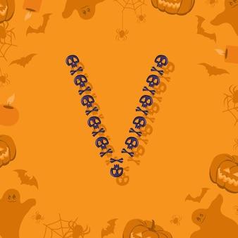 Halloween letra v de caveiras e ossos cruzados para projetar fonte festiva para feriado e festa em orang ...