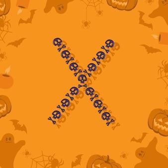 Halloween letra x de caveiras e ossos cruzados para design festivo fonte para feriado e festa em orang ...