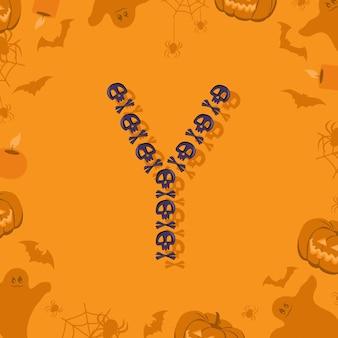 Halloween letra y de caveiras e ossos cruzados para projetar fonte festiva para feriado e festa em orang ...