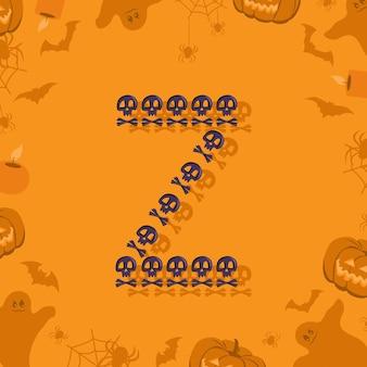 Halloween letra z de caveiras e ossos cruzados para projetar fonte festiva para feriado e festa em orang ...
