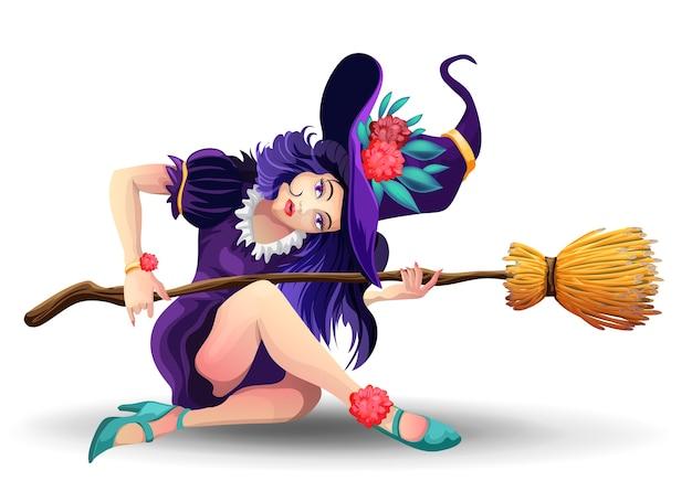 Halloween linda bruxa com vassoura sentada no chão.