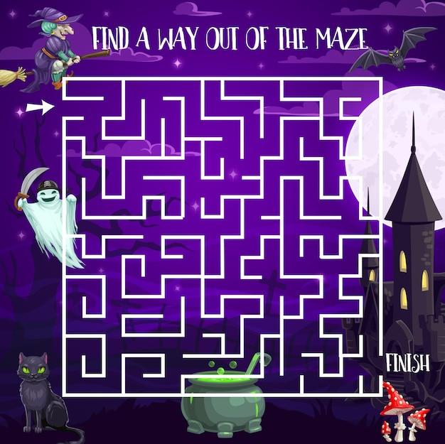 Halloween night labirinto labirinto jogo para crianças, quebra-cabeça