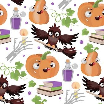 Halloween owl pumpkin funny cartoon hand drawn seamless pattern