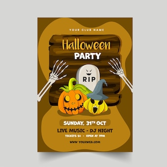 Halloween party flyer design com abóboras assustadoras, pedra rip, braços de esqueleto e placa de madeira no fundo marrom.