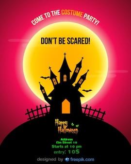 Halloween party flyer vermelho noite