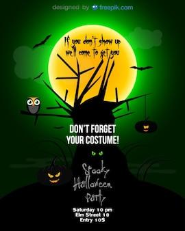 Halloween passageiro lua cheia na noite verde