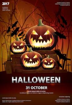Halloween poster template design ilustração vetor