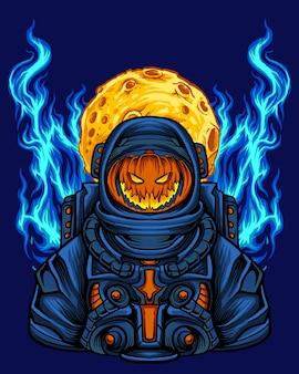 Halloween pumpking com traje de astronauta