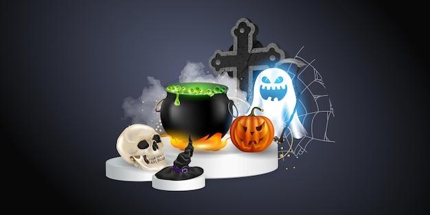 Halloween realista definido com vários objetos para bruxas isoladas em ilustração vetorial de fundo preto. elementos e objetos de halloween para projetos de design.
