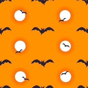 Halloween sem costura de fundo com morcegos voadores e lua sangrenta. ilustração em vetor
