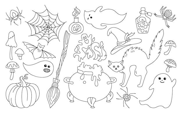 Halloween simbólico feriado contorno conjunto de doodle gato preto abóbora chapéu aranha web design plano