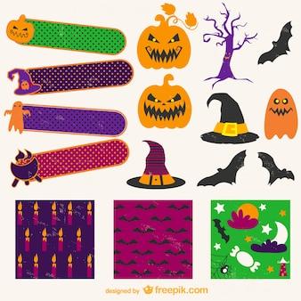 Halloween traseiro e emblemas coleção