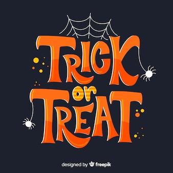 Halloween trick or treat com teia de aranha