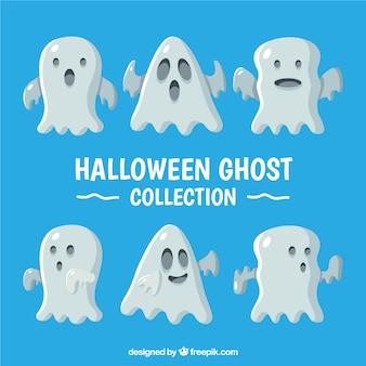 Hallowen fantasmas com design plano