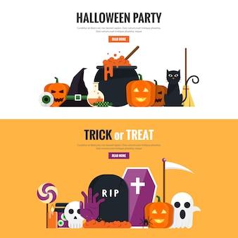 Hallowen plana projetado banners 2