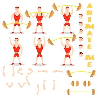 Halteres de homem dos desenhos animados exercícios de agachamento