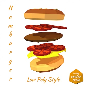 Hamburger com as camadas da costoleta e do tomate isoladas. estilo baixo poli