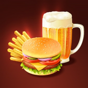 Hamburger e fundo de cerveja