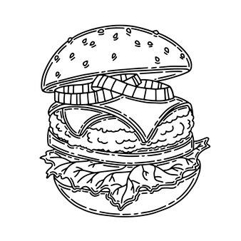 Hambúrguer apetitoso silhueta negra