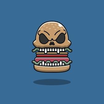 Hambúrguer assustador, hambúrguer e caveira em um só, hambúrguer de halloween