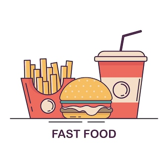 Hambúrguer, batata frita e refrigerante. ilustração em vetor design plano fast-food.