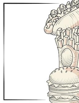 Hambúrguer batatas fritas e comida taco e lanches ilustração de pôster desenhada à mão