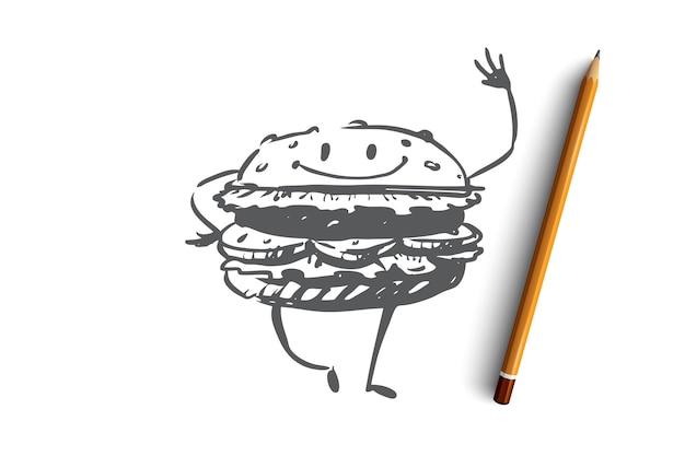 Hambúrguer, carne, refeição, fast food, conceito de comer. desenho hambúrguer engraçado com esboço de conceito de sorriso. ilustração.