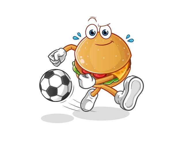 Hambúrguer chutando o desenho da bola. mascote dos desenhos animados