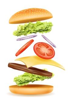 Hambúrguer clássico com picadela de carne, tomate, cebola e queijo em um pão branco