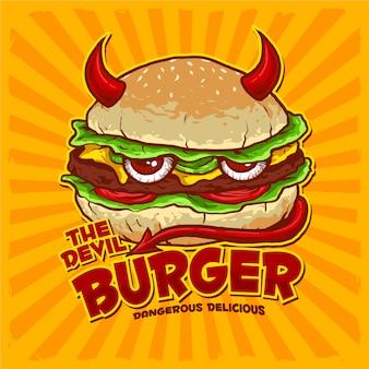 Hambúrguer com bandeira para logotipo de restaurante de comida lixo