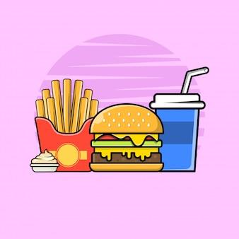 Hambúrguer com batata frita e ilustração do ícone de refrigerante.