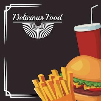 Hambúrguer com batatas fritas e copo de refrigerante, comida deliciosa