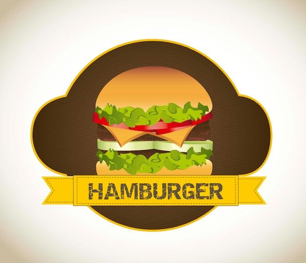 Hambúrguer com carne sobre ilustração vetorial de fundo vintage