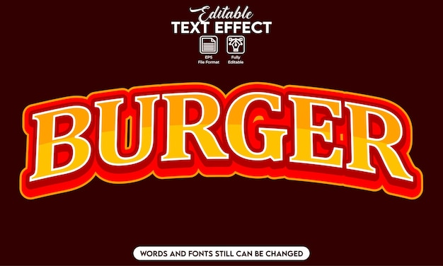 Hambúrguer com efeito de texto editável