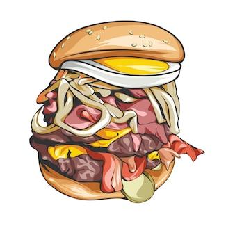 Hambúrguer com ovo e legumes