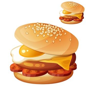 Hambúrguer com ovo frito, queijo cheddar, costeleta de chouriço e fatias de chouriço