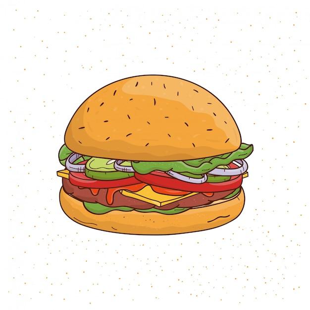 Hambúrguer com queijo, pepino, costeleta, alface, cebola, molho, tomate, carne e salada. mão colorida ilustrações desenhadas sobre fundo branco.