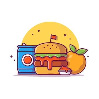 Hambúrguer com refrigerante e laranja fruta icon ilustração. conceito de ícone de fast-food isolado. estilo cartoon plana