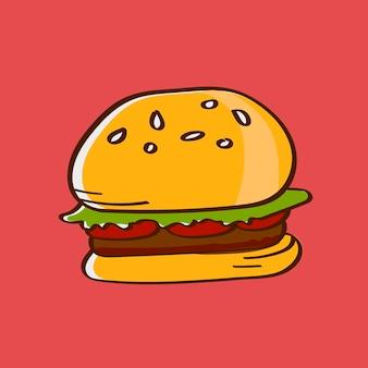 Hambúrguer de carne desenhada à mão