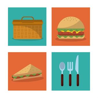 Hambúrguer de cesta de piquenique e sanduíche e conjunto de talheres