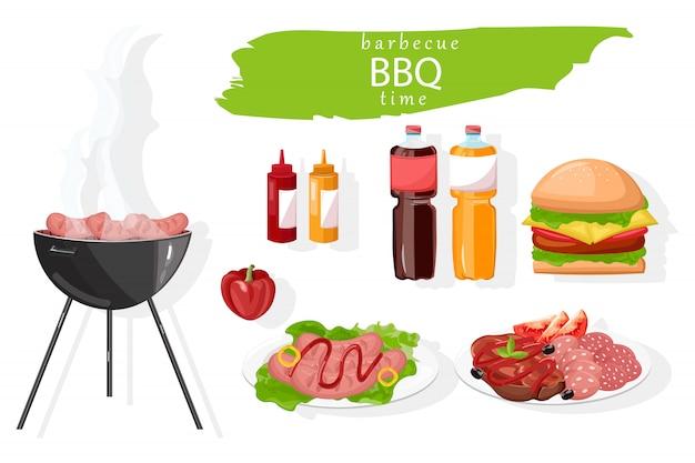 Hambúrguer de comida de churrasco e coleção de bebidas