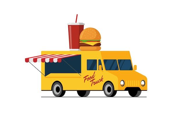 Hambúrguer de fast food amarelo de caminhão e bebida em hambúrguer de teto de van com serviço de entrega de refrigerante ou