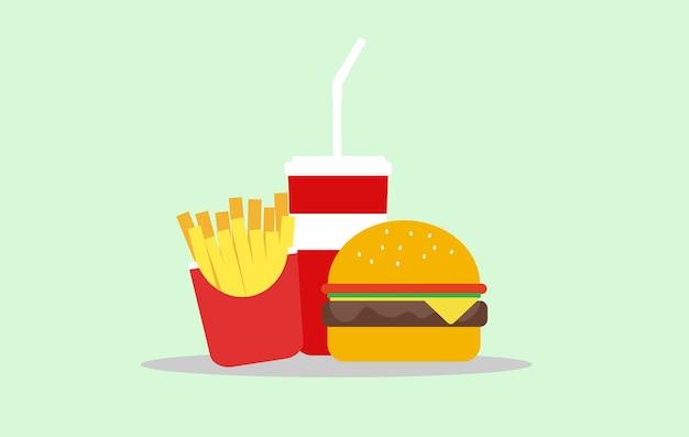 Hambúrguer de fast food, batata frita e bebida