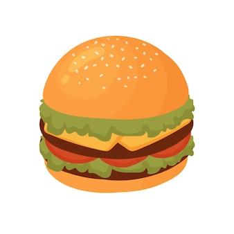 Hambúrguer de fast food saboroso lanche fastfood hambúrguer insalubre com salada de carne de queijo