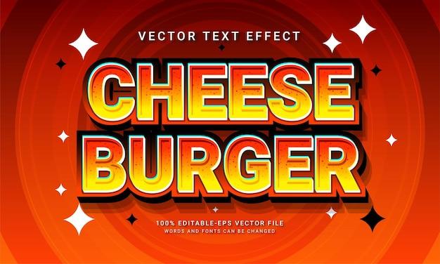 Hambúrguer de queijo, estilo de texto editável, efeito de menu de comida de restaurante com tema